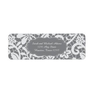 Etiqueta de endereço do remetente floral do laço