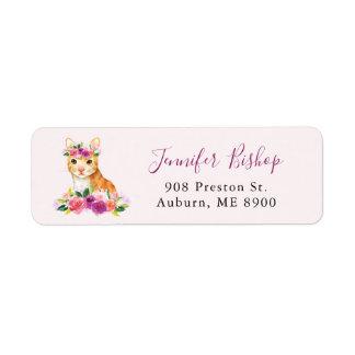 Etiqueta de endereço do remetente floral II do
