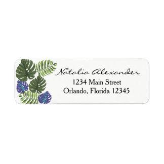 Etiqueta de endereço do remetente floral moderna