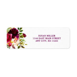 Etiqueta de endereço do remetente floral rústica