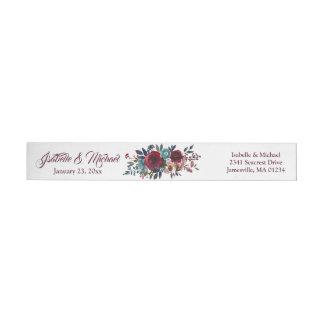 Etiqueta de endereço do remetente floral vermelha