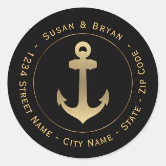 Etiqueta de endereço do remetente náutica circular