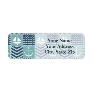 Etiqueta de endereço do remetente náutica da