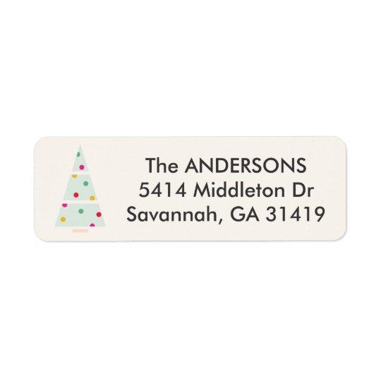 Etiqueta de endereço do remetente Pastel da árvore