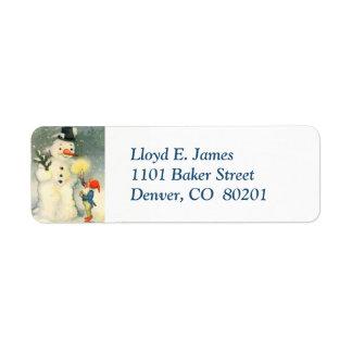 Etiqueta de endereço do remetente retro do duende