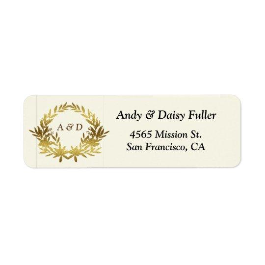 Etiqueta de endereço do remetente - tema do ouro