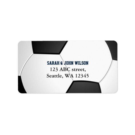 Etiqueta de endereço do tema do futebol do partido