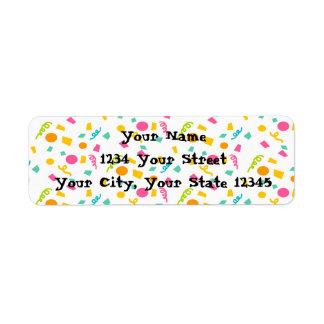 Etiqueta de endereço dos confetes