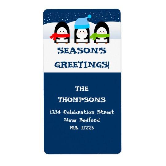 Etiqueta de endereço dos pinguins do inverno