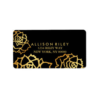 Etiqueta de endereço dourada dos rosas - preto