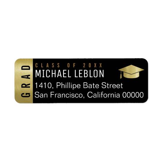etiqueta de endereço elegante da graduação com