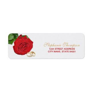 Etiqueta de endereço elegante do casamento da rosa