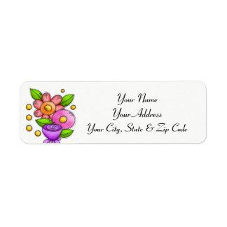Etiqueta de endereço encantada da flor do Doodle