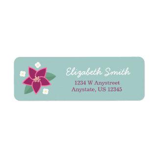 Etiqueta de endereço escrita à mão da flor