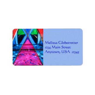 Etiqueta De Endereço Etiquetas de endereço--Triângulo cor-de-rosa de