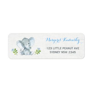 Etiqueta de endereço floral azul do chá de fraldas