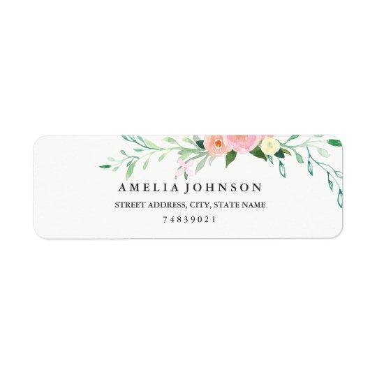 Etiqueta de endereço floral botânica da aguarela