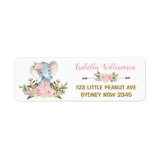 Etiqueta de endereço floral cor-de-rosa do chá de