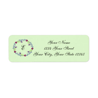 Etiqueta de endereço floral da inicial da grinalda