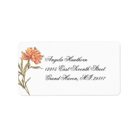 Etiqueta de endereço floral da peônia RSVP do