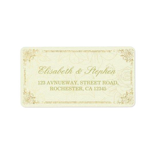 Etiqueta de endereço floral do casamento do quadro