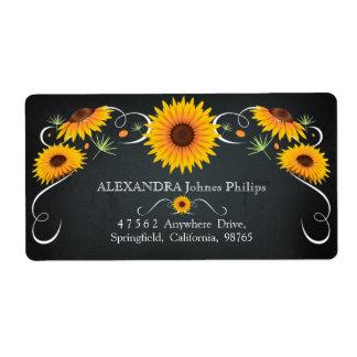 Etiqueta de endereço floral do vintage do quadro