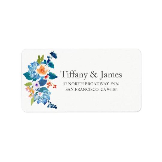Etiqueta de endereço floral elegante do casamento
