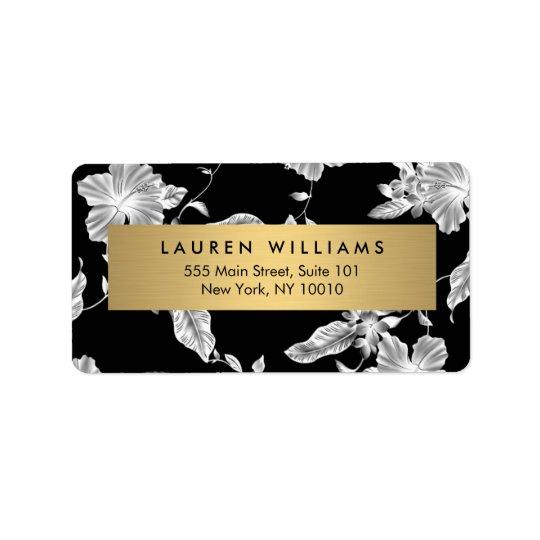 Etiqueta de endereço floral preta elegante do