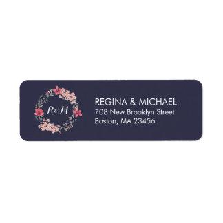 Etiqueta de endereço floral rústica azul do