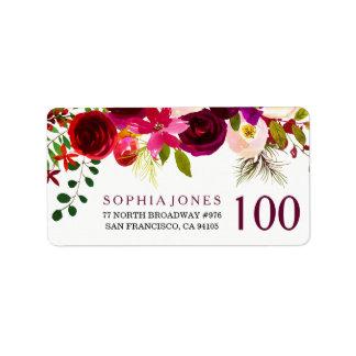 Etiqueta de endereço floral vermelha do