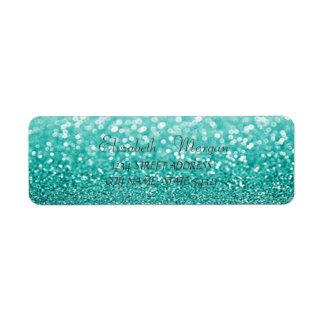 Etiqueta de endereço Glittery verde chique