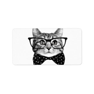 Etiqueta De Endereço laço do gato - gato dos vidros - gato de vidro