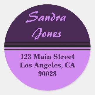 etiqueta de endereço listrada adesivos redondos
