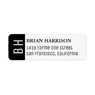 etiqueta de endereço moderna com nome e iniciais