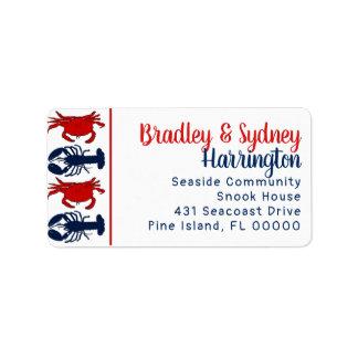 Etiqueta de endereço patriótica dos caranguejos