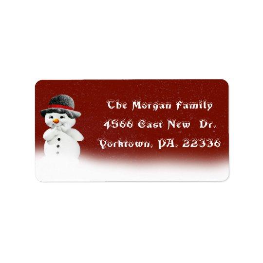 Etiqueta de endereço pequena do boneco de neve