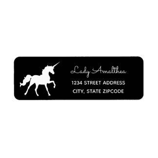 Etiqueta de endereço preta do unicórnio