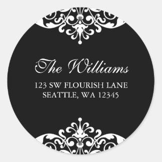 Etiqueta de endereço preto e branco do rolo do adesivo
