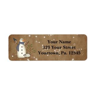 Etiqueta de endereço primitiva do boneco de neve