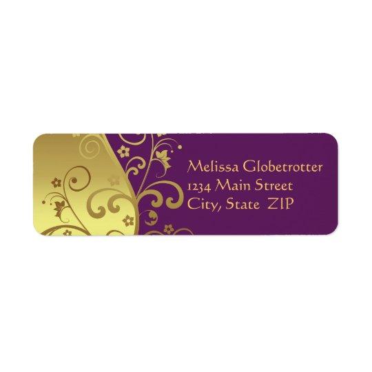 Etiqueta de endereço--Redemoinhos do ouro & Etiqueta Endereço De Retorno