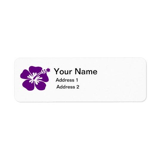 etiqueta de endereço roxa da flor do hibiscus