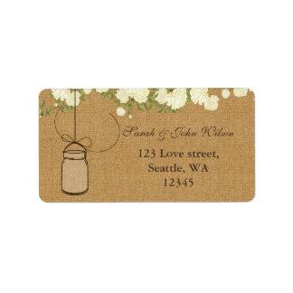 etiqueta de endereço rústica do frasco de pedreiro