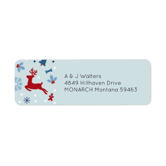 Etiqueta de endereço vermelha & azul festiva do