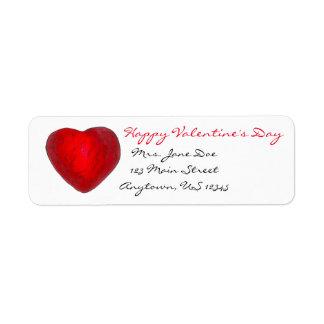 Etiqueta de endereço vermelha do amor do coração