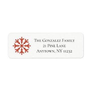 Etiqueta de endereço vermelha do floco de neve