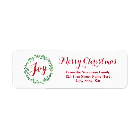 Etiqueta de endereço vermelha do Natal da grinalda