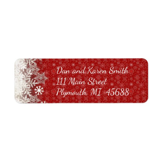 Etiqueta de endereço vermelha do Natal do floco de