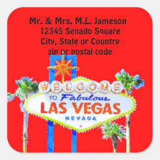 etiqueta de endereço vermelha do sinal de adesivo quadrado