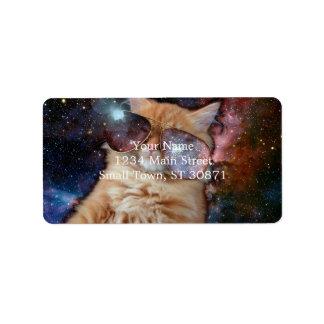 Etiqueta De Endereço Vidros do gato - gato dos óculos de sol - espaço