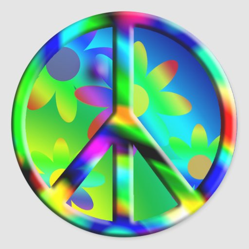 Etiqueta de flower power do Hippie do sinal de paz Adesivo Redondo